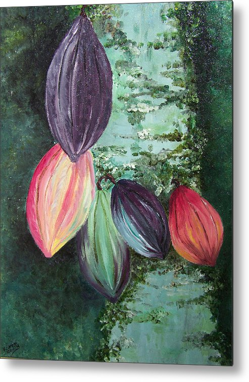 Cocoa On The Tree Metal Print featuring the painting Cocoa Pods by Karin Dawn Kelshall- Best