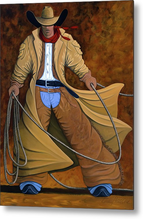 Contemporary Western Metal Print featuring the painting Cody by Lance Headlee