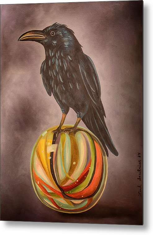 Crow Metal Print featuring the painting Crow On Marble Edit 3 by Leah Saulnier The Painting Maniac