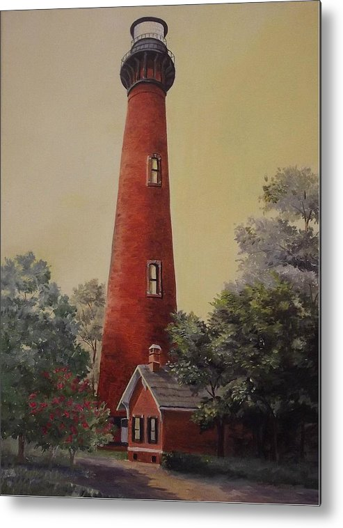 Lighthouse Metal Print featuring the painting Currituck Lighthouse by Wanda Dansereau