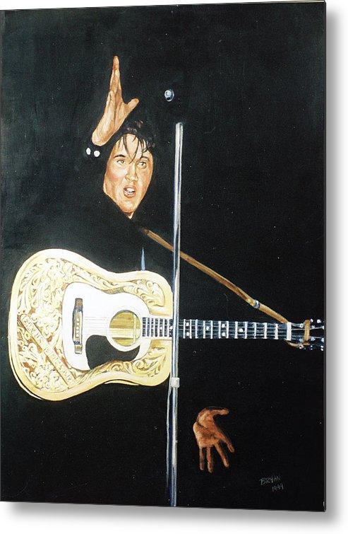 Elvis Presley Metal Print featuring the painting Elvis 1956 by Bryan Bustard