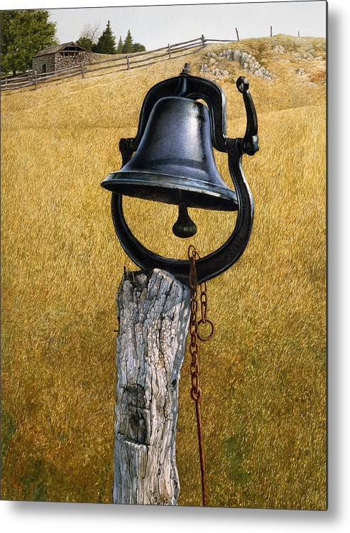 Landscape Metal Print featuring the painting Farm Bell by Tom Wooldridge