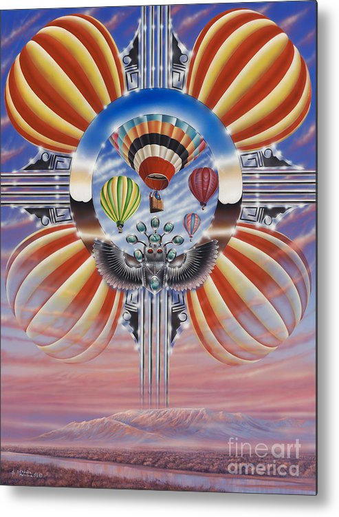 Balloons Metal Print featuring the painting Fiesta De Colores by Ricardo Chavez-Mendez