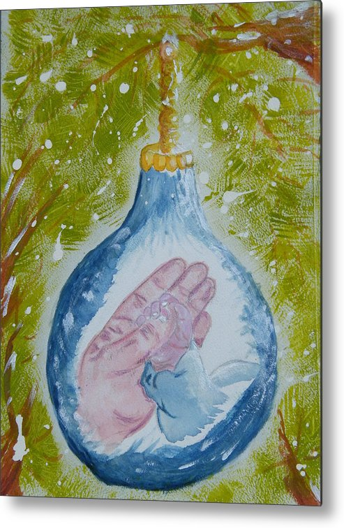 Christmas Metal Print featuring the painting First Christmas II by Margaret G Calenda
