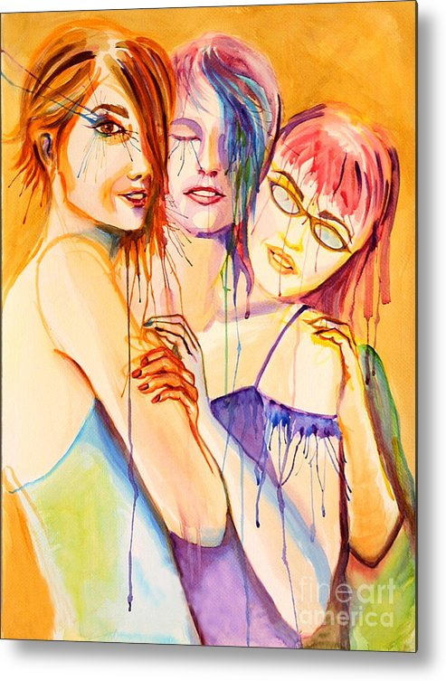 Portraits Metal Print featuring the painting Flawless by Angelique Bowman