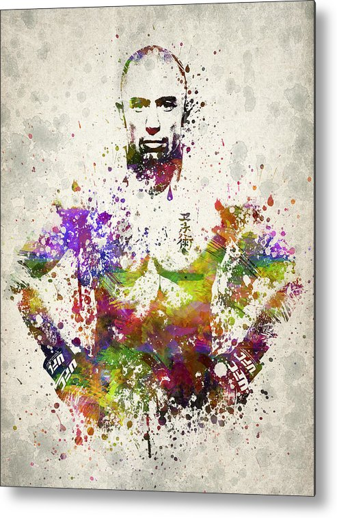 Georges St-pierre Metal Print featuring the drawing Georges St-pierre by Aged Pixel