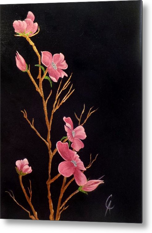 Glistening Metal Print featuring the painting Glistening Blossoms by Carol Avants