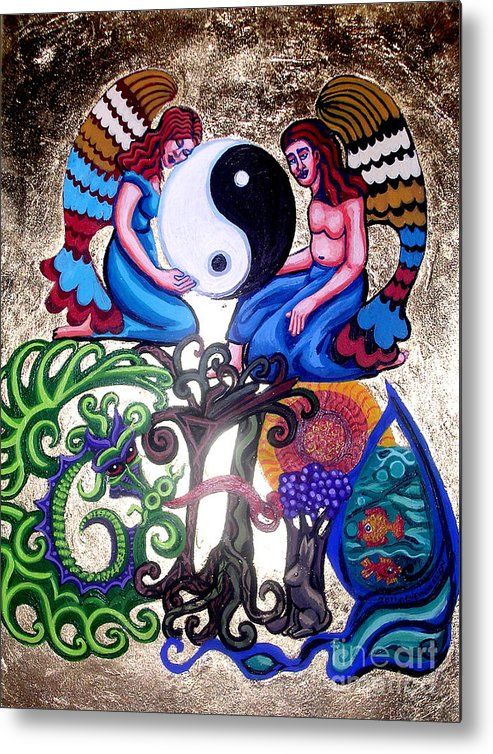 God And Gaia Metal Print featuring the painting God And Gaia by Genevieve Esson