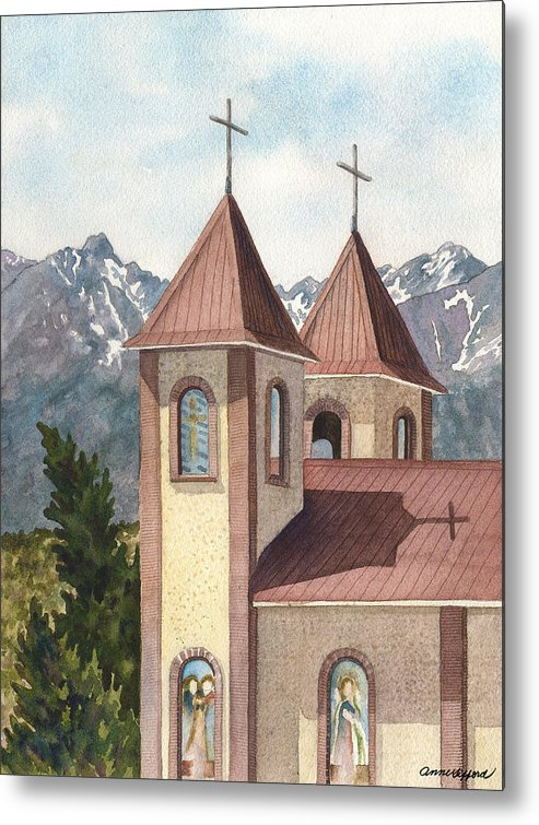 Church Painting Metal Print featuring the painting Holy Family Catholic Church In Fort Garland Colorado by Anne Gifford