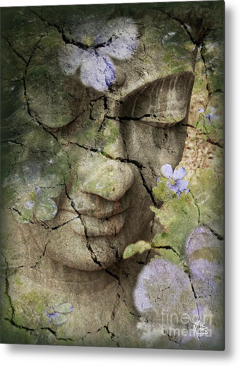 Buddha Metal Print featuring the mixed media Inner Tranquility by Christopher Beikmann