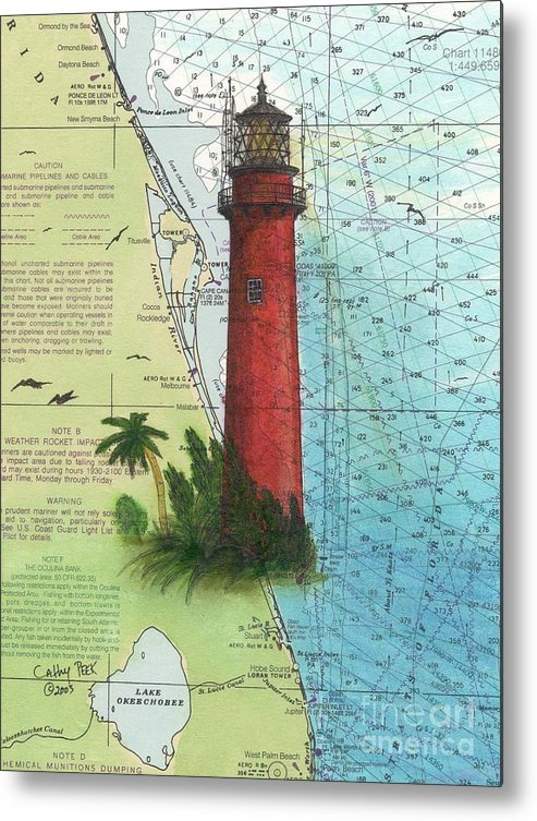 Map Of Florida Showing Jupiter.Jupiter Inlet Lighthouse Fl Nautical Chart Map Art Cathy Peek Metal