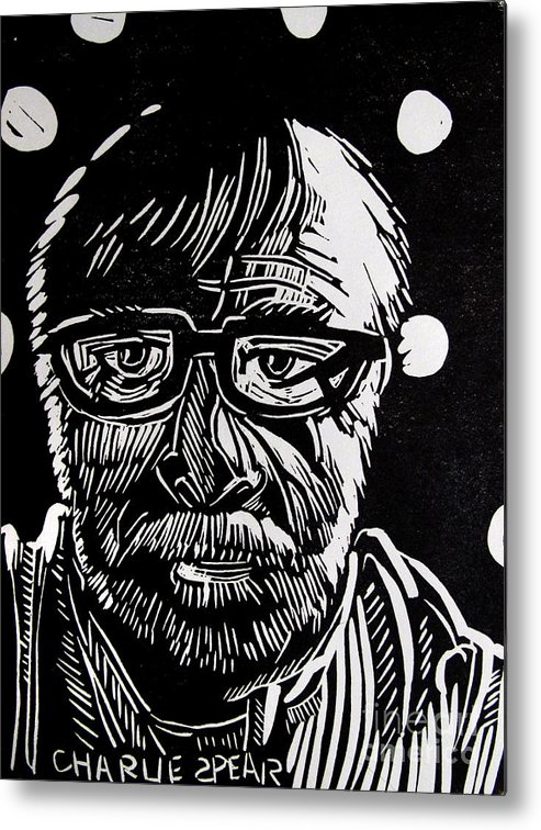 Auto-portrait Metal Print featuring the relief Lino Cut Charlie Spear by Charlie Spear
