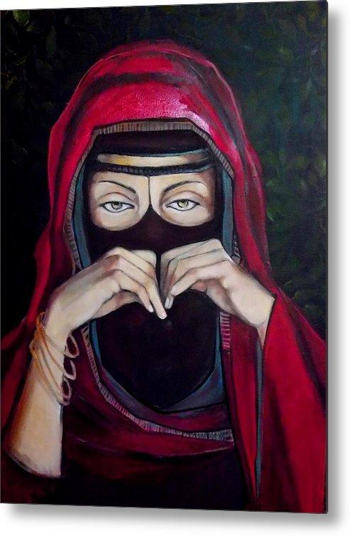 A Niqab (arabic: نِقاب Niqāb Metal Print featuring the painting Looking Through Niqab by Irena Mohr