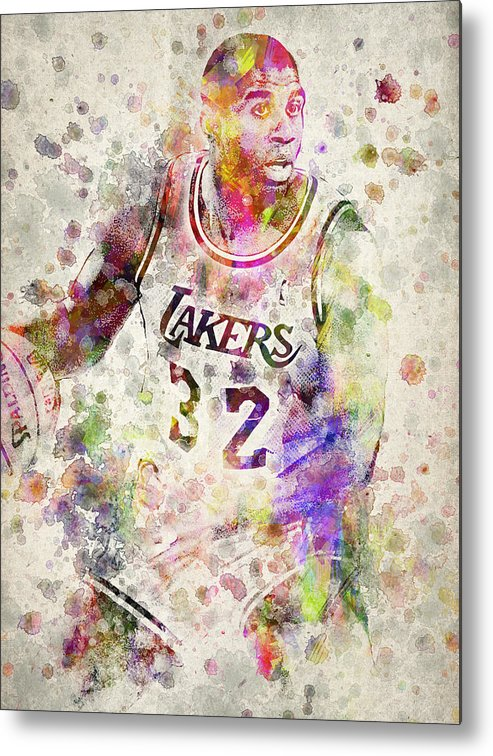 Magic Johnson Metal Print featuring the drawing Magic Johnson by Aged Pixel