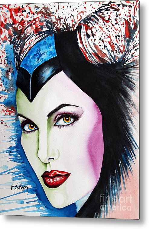 Disney Metal Print featuring the painting Maleficent by Maria Barry