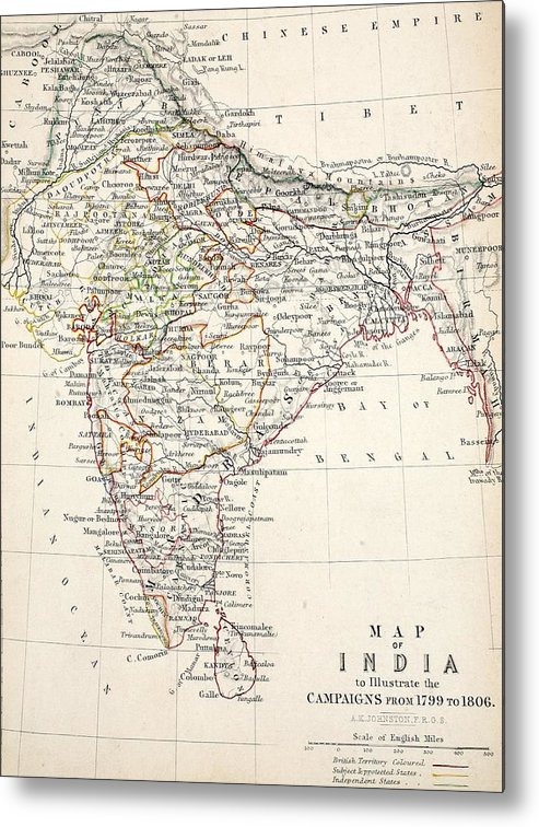 Map Metal Print featuring the drawing Map Of India by Alexander Keith Johnson
