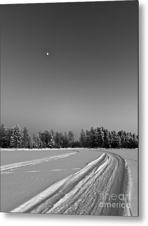 Photograph Metal Print featuring the photograph Moon Over Ice Road by Ismo Raisanen