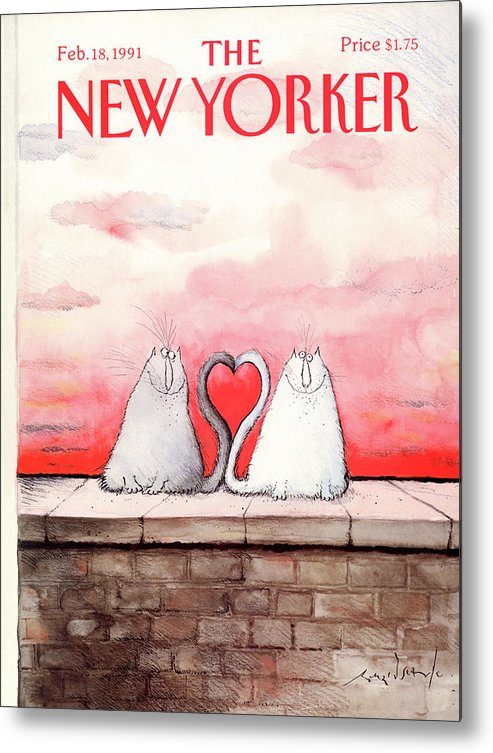 Two Cats Metal Print featuring the painting New Yorker February 18th, 1991 by Ronald Searle