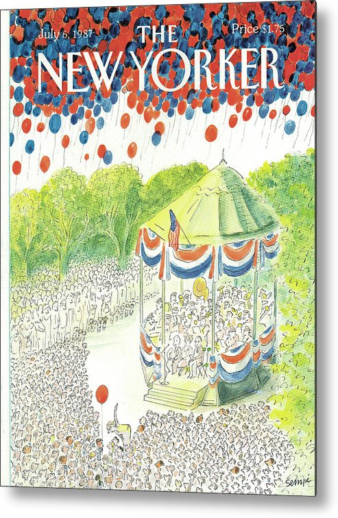 United States Metal Print featuring the painting New Yorker July 6th, 1987 by Jean-Jacques Sempe