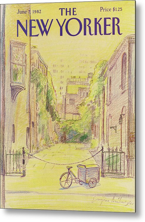 Washington Mews Metal Print featuring the painting New Yorker June 7th, 1982 by Eugene Mihaesco