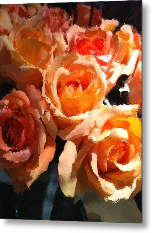 Roses Metal Print featuring the painting Orange Roses by Lyn Pacific