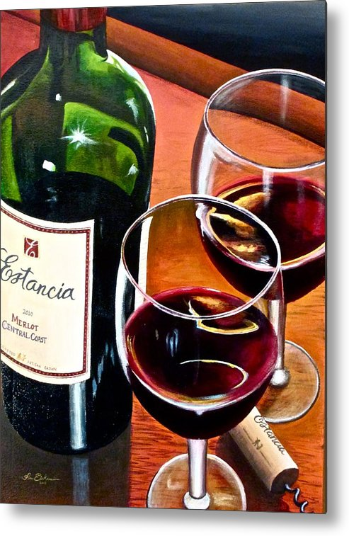 Wine Paintings Metal Print featuring the painting Party Of Two by Tim Eickmeier