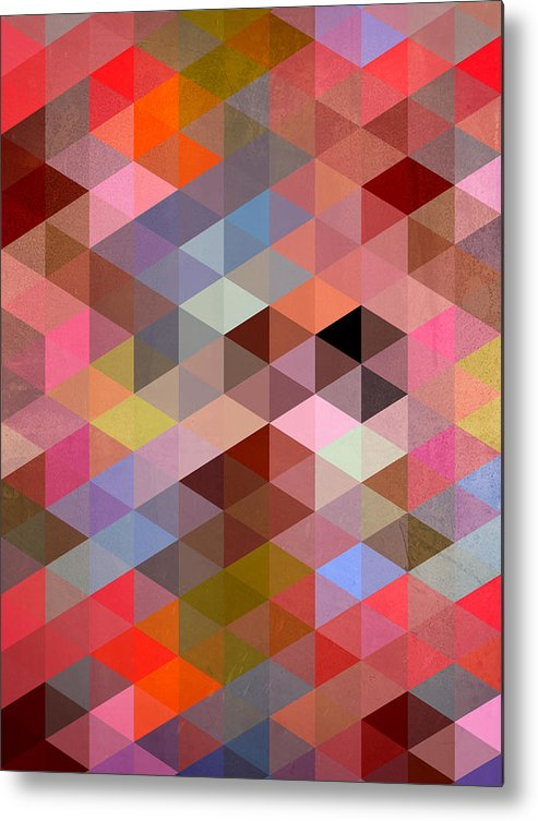 Contemporary Metal Print featuring the digital art Pattern Of Triangle by Mark Ashkenazi
