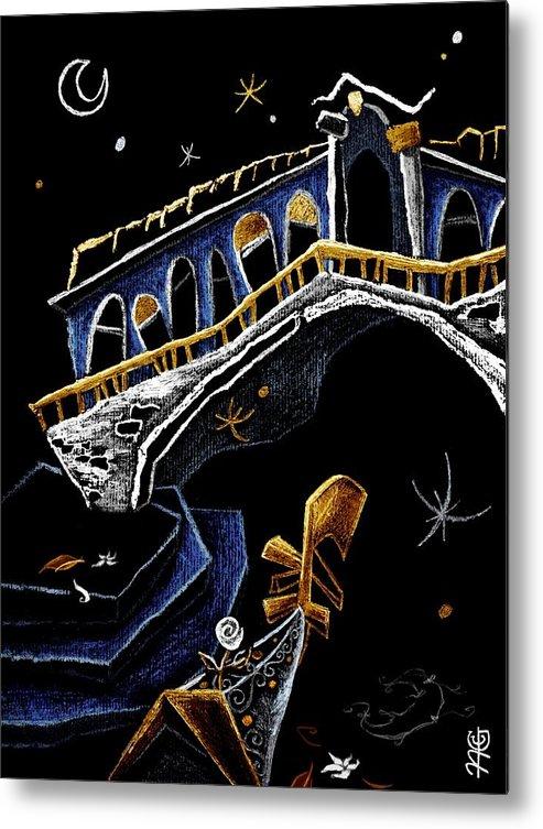 Rialto Metal Print featuring the drawing Ponte Di Rialto - Grand Canal Venise Gondola Illustration by Arte Venezia