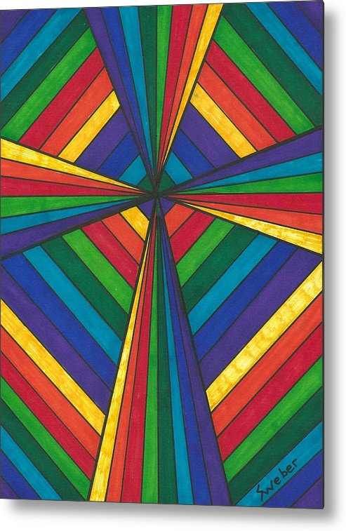 Rainbow Metal Print featuring the painting Rainbow Cross by Susie Weber