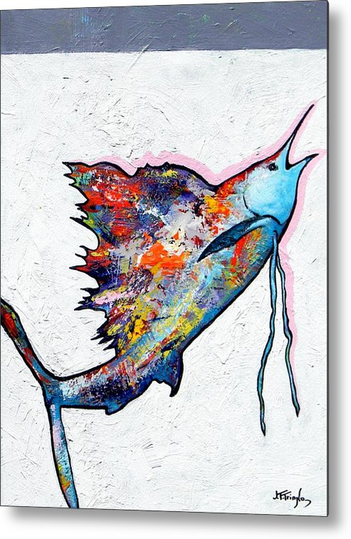 Wildlife Metal Print featuring the painting Rainbow Warrior - Sailfish by Joe Triano