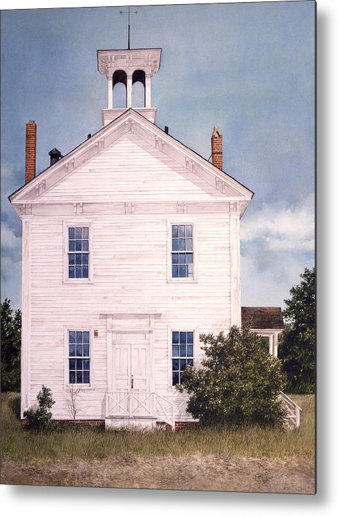Landscape Metal Print featuring the painting Schoolhouse by Tom Wooldridge