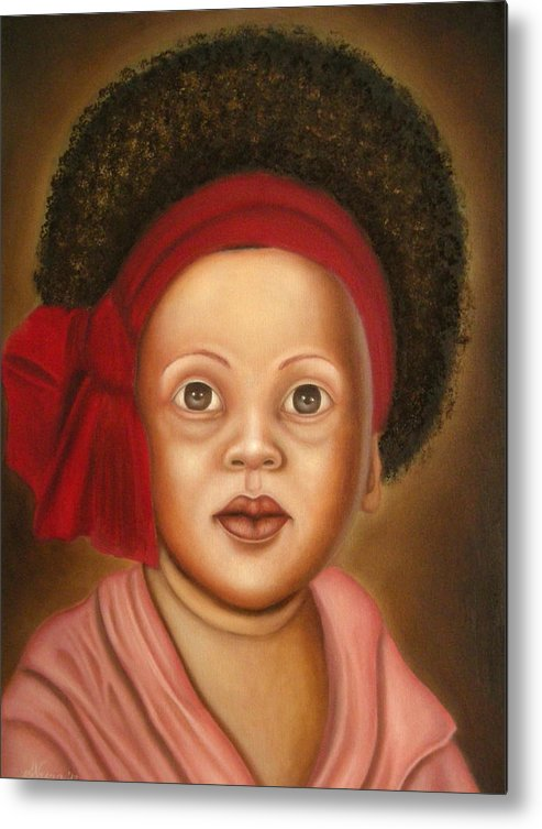 Portrait Metal Print featuring the painting Seventies by Alessandra Veccia