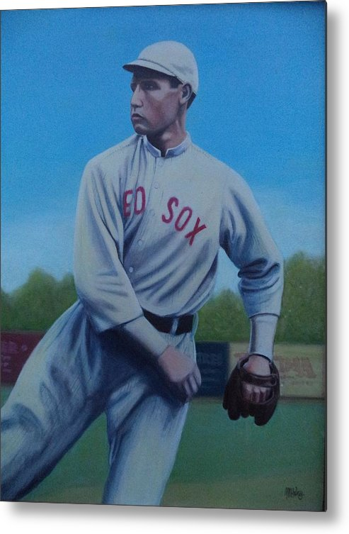 Red Sox Metal Print featuring the painting Smokey Joe Wood by Mark Haley