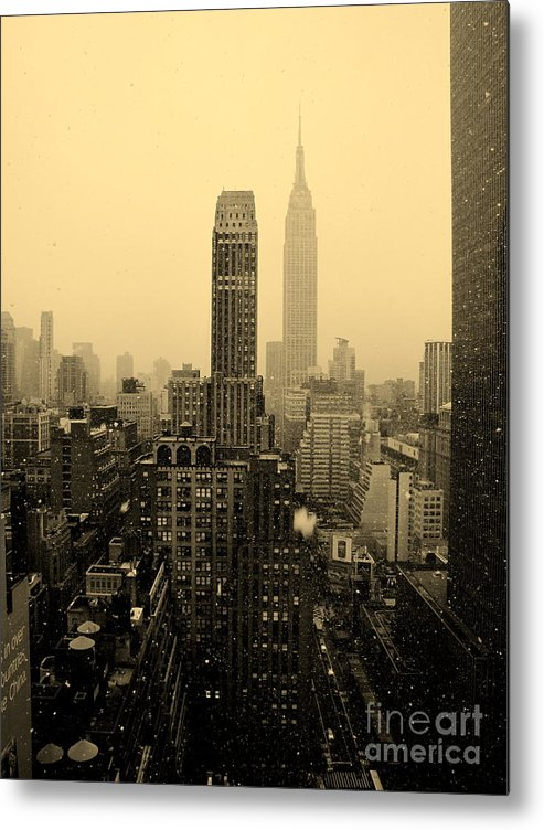 New York City Metal Print featuring the photograph Snowy New York Skyline by Betsy Foster Breen