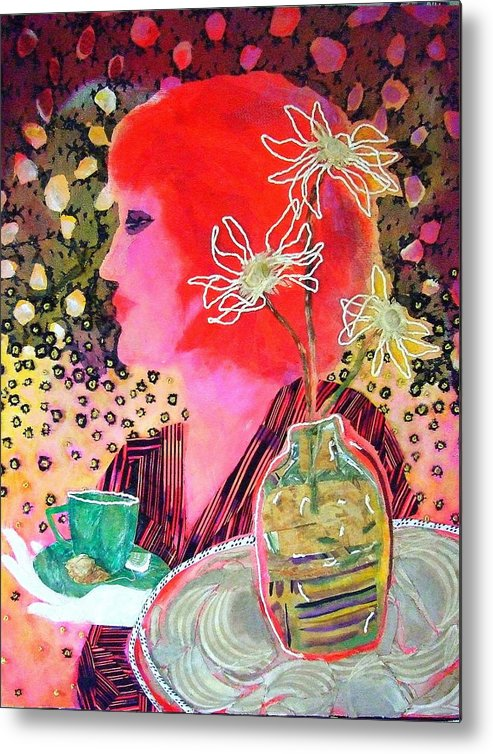 Flowers In A Vase Metal Print featuring the mixed media Teabag by Diane Fine