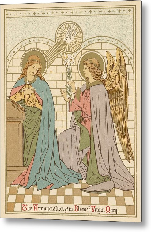 Saint Metal Print featuring the painting The Annunciation Of The Blessed Virgin Mary by English School