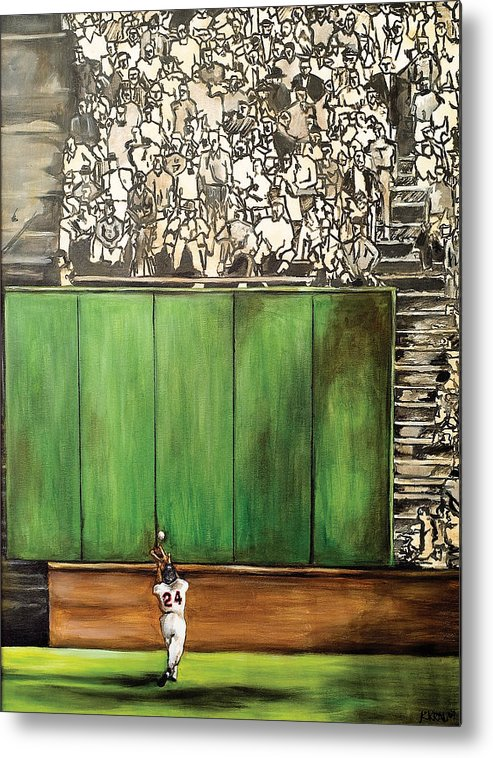Baseball Art Metal Print featuring the painting The Catch by Katia Von Kral