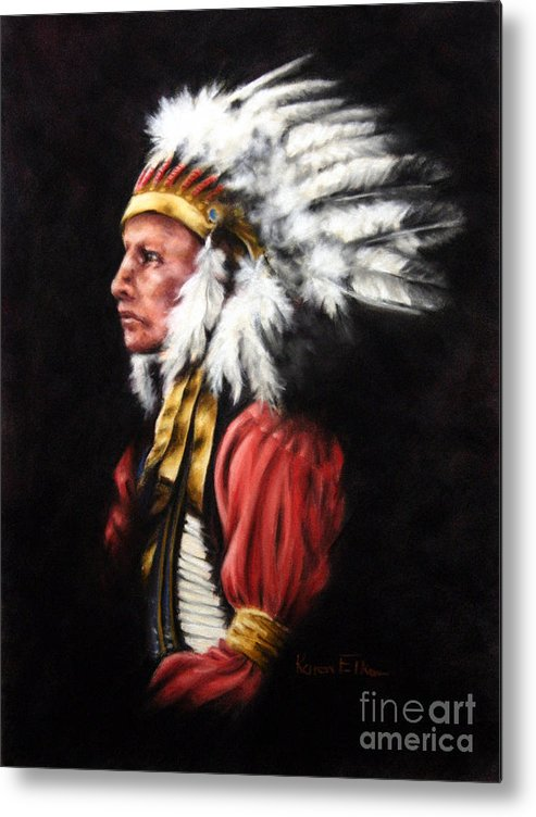 Native American Metal Print featuring the pastel The Chief 2 by Karen Elkan