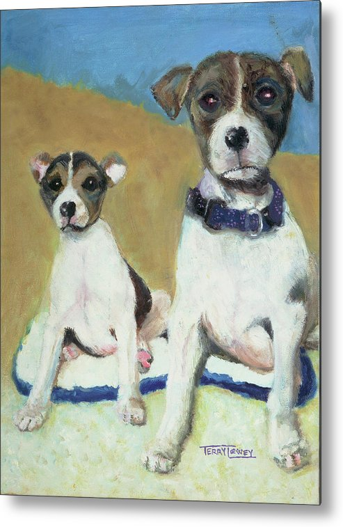 Dog Metal Print featuring the painting The Terriers by Terry Lewey