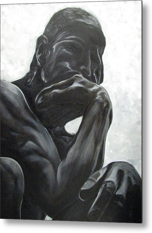 Black And White Paintings Metal Print featuring the painting The Thinker by Aimee Vance