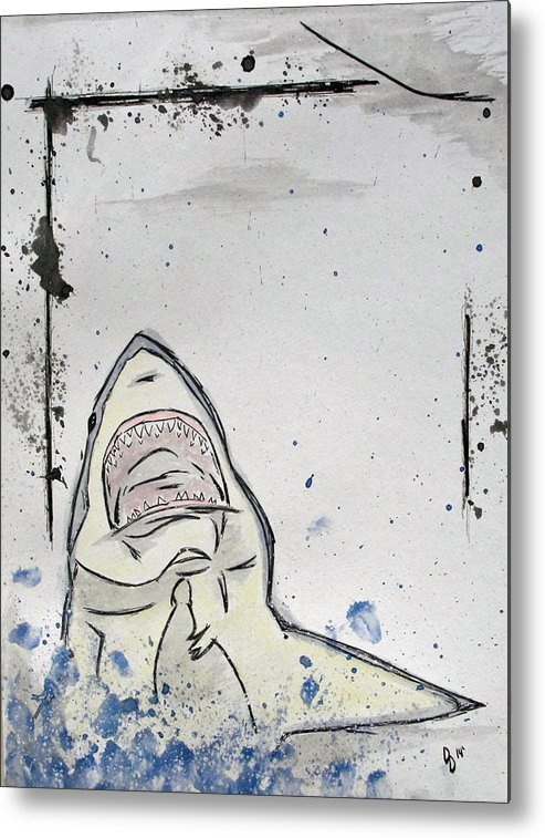 Shark Metal Print featuring the mixed media There Will Be Blood by David DeMarco