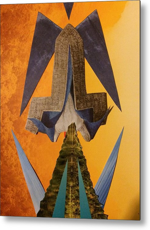 Collage Metal Print featuring the mixed media Today by Claire Elizabeth Stringer