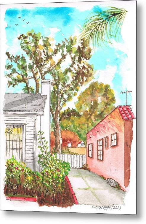 Nature Metal Print featuring the painting Trees Between Two Houses In West Hollywood - California by Carlos G Groppa