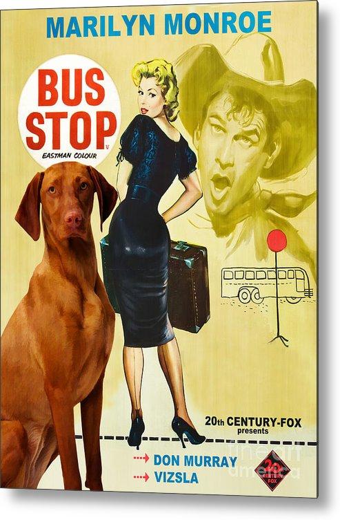 Vizsla Metal Print featuring the painting Vizsla Art Canvas Print - Bus Stop Movie Poster by Sandra Sij