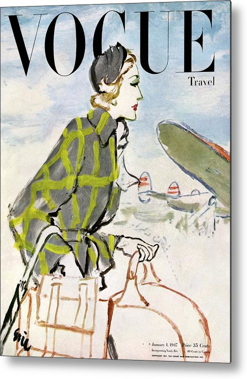 Illustration Metal Print featuring the photograph Vogue Cover Featuring A Woman Carrying Luggage by Carl Oscar August Erickson