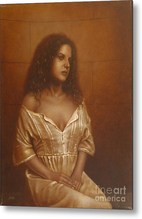Girl Metal Print featuring the painting Waiting For Her Lover by John Silver
