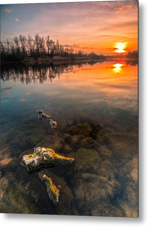 Landscape Metal Print featuring the photograph Watching Sunset by Davorin Mance