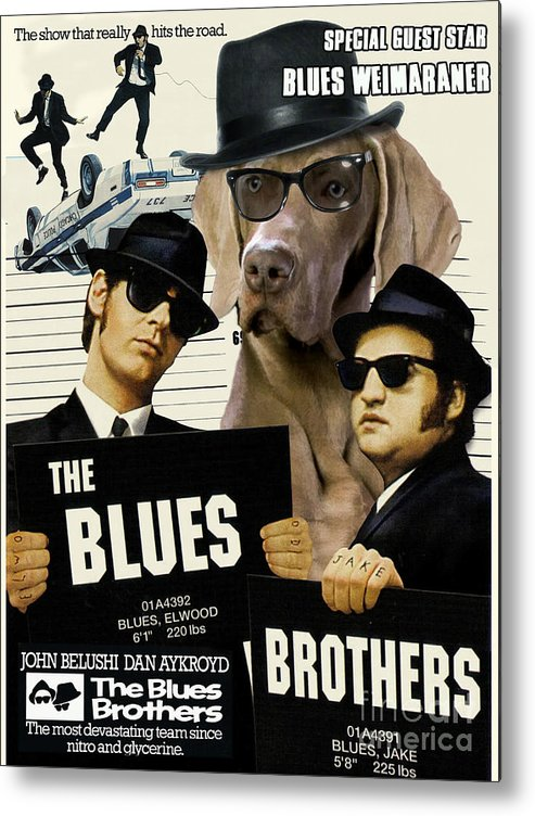 Weimaraner Metal Print featuring the painting Weimaraner Art Canvas Print - The Blues Brothers Movie Poster by Sandra Sij