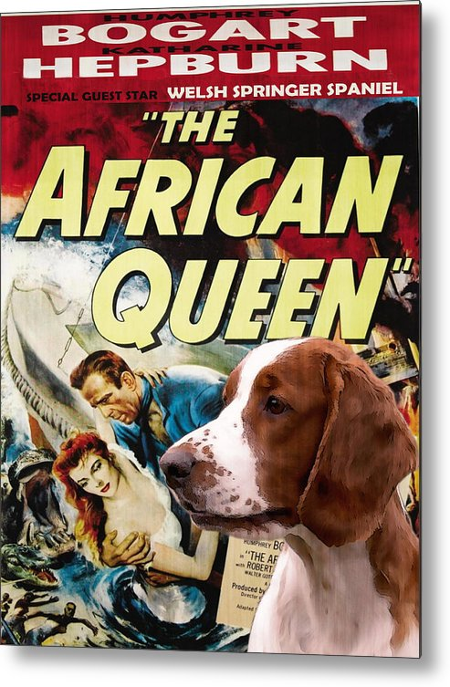 Springer Spaniel Metal Print featuring the painting Welsh Springer Spaniel Art Canvas Print - The African Queen Movie Poster by Sandra Sij