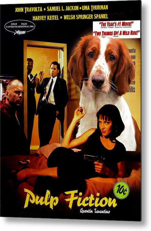 Springer Spaniel Metal Print featuring the painting Welsh Springer Spaniel Art Canvas Print - Pulp Fiction Movie Poster by Sandra Sij